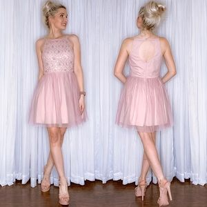 Pink Beaded Fit Flair Homecoming Party Dress